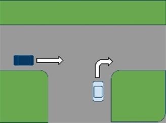 Afslaand auto gaat voor rechtdoorgaand auto ?plaatje